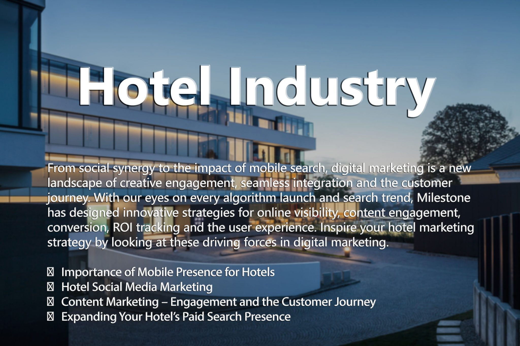 marketing mix related to hospitality industry in Inspire your hotel marketing strategy by looking at these driving forces in digital marketing the milestone team recently hosted a free educational session on 2015 top digital marketing trends and strategies for the hospitality industry.